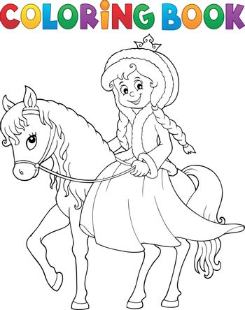 Coloring book winter princess on horse - eps10 vector illustration.