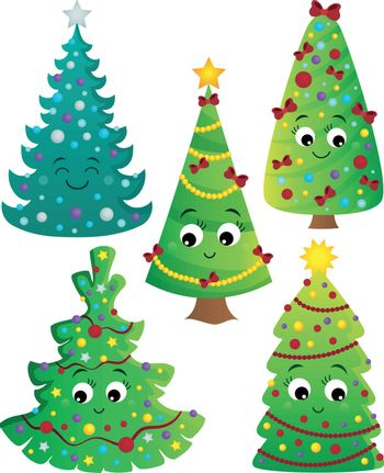 Stylized Christmas trees collection 2 - eps10 vector illustration.