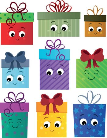 Stylized gifts theme set 1 - eps10 vector illustration.