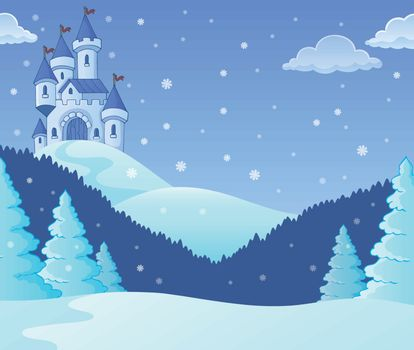 Winter countryside with castle theme 1 - eps10 vector illustration.