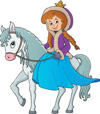 Winter princess riding horse 1 - eps10 vector illustration.