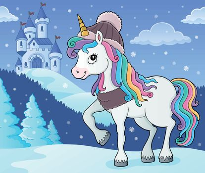 Winter unicorn theme image 2 - eps10 vector illustration.