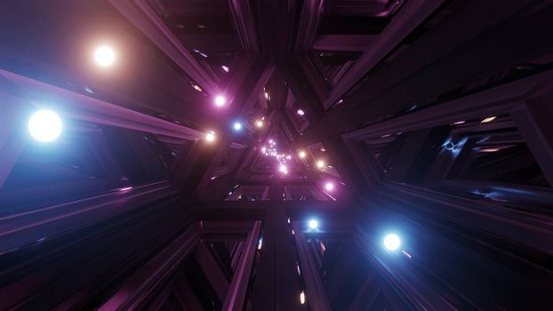 glowing spheres fly throgh tunnel corridor with glass windows 3d illustrations backgrounds wallpaper graphic artwork, flying glowing sphere particles 3d rendering design
