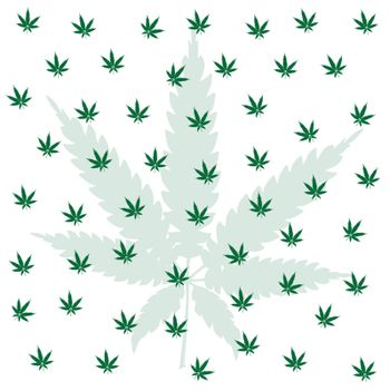 A cannabis leaf background with one large faded