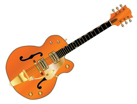 A typical country and western guitar in orange over a white background