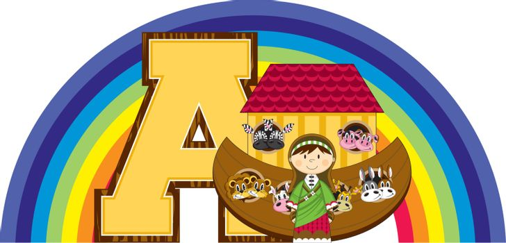 The Animals went in Two by Two A is for Ark Biblical Alphabet Learning Illustration by Mark Murphy