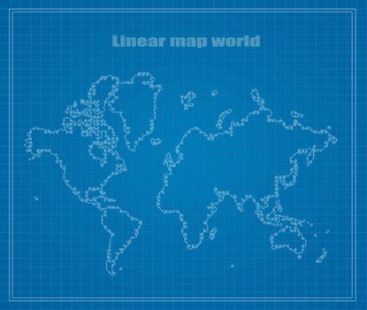 Map of Earth linear blueprints. Vector illustration.