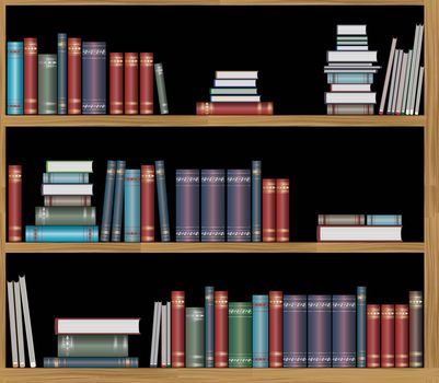 Seamless repeating pattern of bookshelves with books