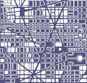 Map of the city.   Editable vector street map of a fictional generic town. Abstract urban background.