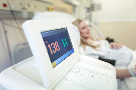 Pregnant woman in the prenatal hospital