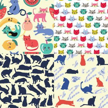 Vector hand drawn set of seamless patterns with funny cartoon cats in vector. Animals textile collection Cartoon cat characters.