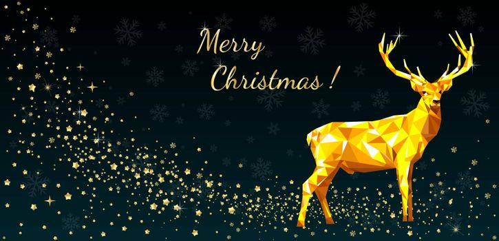 A deer on a background of stars and snowflakes. Greeting card Merry Christmas.