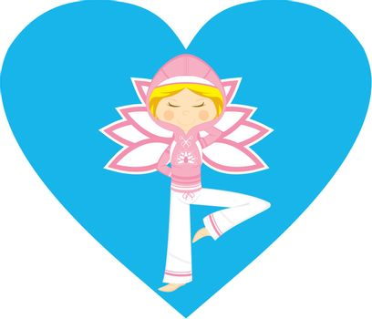 Cute Cartoon Yoga Girl in Hooded Top on a Valentine Heart Vector Illustration by Mark Murphy Creative
