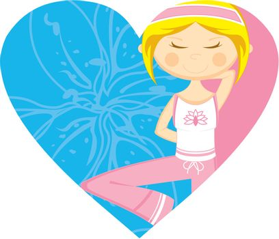 Cute Cartoon Yoga Girl on a Valentine Heart Illustration by Mark Murphy Creative