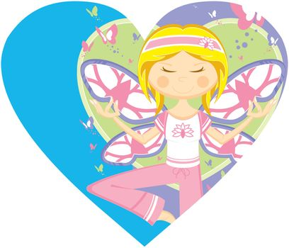 Cute Cartoon Yoga Girl with Butterflies on a Valentine Heart Vector Illustration by Mark Murphy Creative