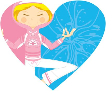 Cute Cartoon Yoga Girl with a Flower in Silhouette on a Valentine Heart Vector Illustration by Mark Murphy Creative