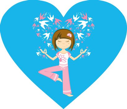 Cute Cartoon Yoga Girl with Swallows in Silhouette on a Valentine Heart Vector Illustration by Mark Murphy Creative