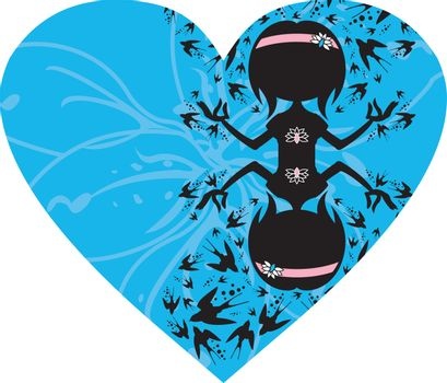 Cartoon Yoga Girl with Swallows in Silhouette on a Valentine Heart Illustration by Mark Murphy Creative