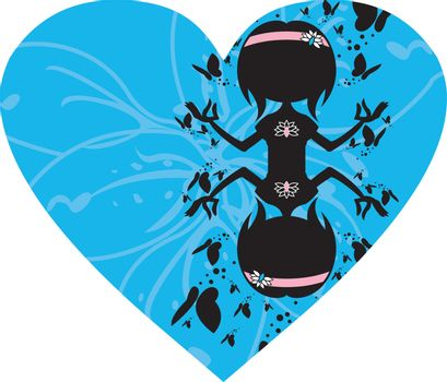 Cartoon Yoga Girl with Butterflies in Silhouette on a Valentine Heart Illustration by Mark Murphy Creative