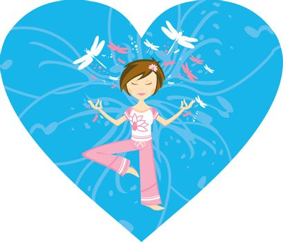 Cute Cartoon Yoga Girl with Dragonflies in Silhouette on a Blue Valentine Heart Illustration by Mark Murphy Creative