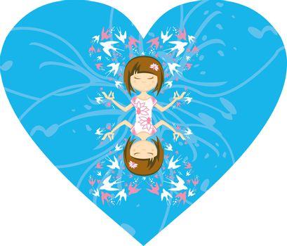Cute Cartoon Yoga Girl with Swallows in Silhouette on a Blue Valentine Heart Illustration by Mark Murphy Creative