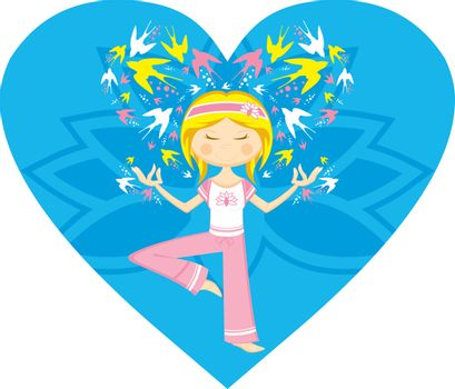 Cute Cartoon Yoga Girl on a Valentine Heart with Swallows in Silhouette - by Mark Murphy Creative