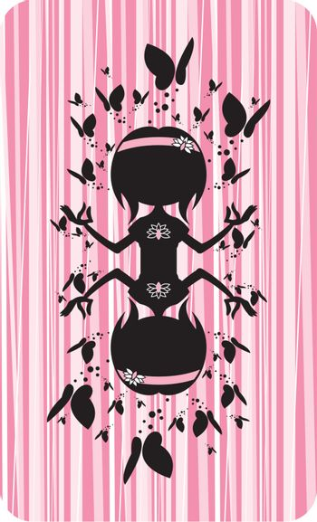 Cartoon Yoga Girl in Silhouette with Butterflies on a Pink Striped Background Illustration by Mark Murphy Creative