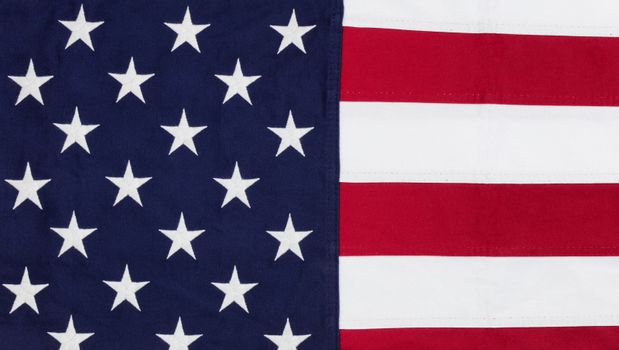 Cloth flag of United States of America in overhead view