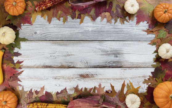 Autumn seasonal foliage and decorations for seasonal holidays on