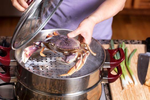 Steaming fresh live Crab