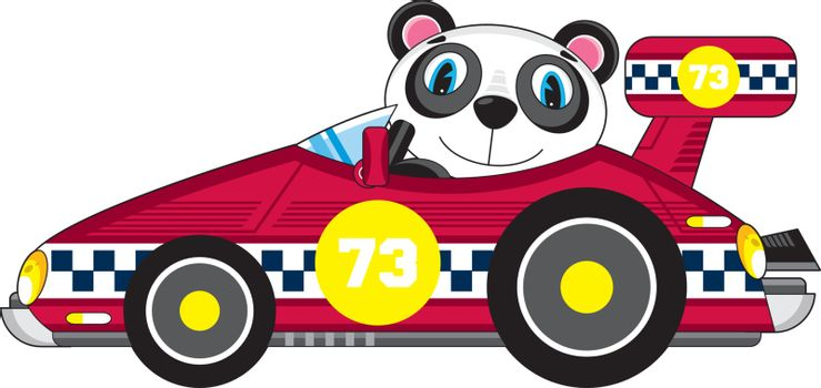 Adorably Cute Cartoon Panda Bear in Motor Racing Car - Vector Illustration by Mark Murphy Creative