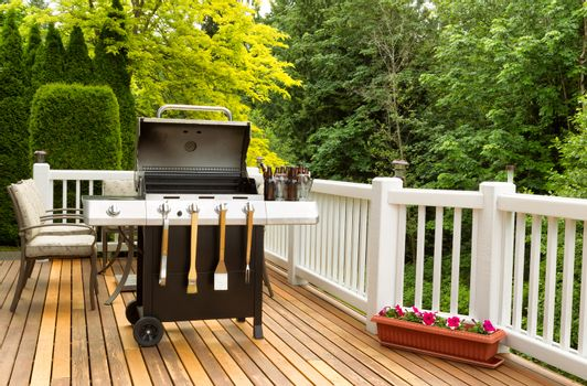 BBQ cooker and cookware ready to cook
