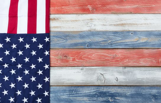 US Flag and national colors on rustic wooden planks for holiday