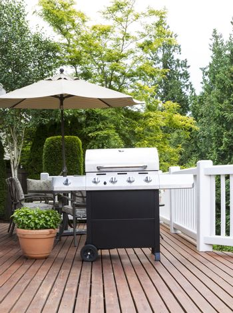 Large Outdoor Cooker on Cedar Deck