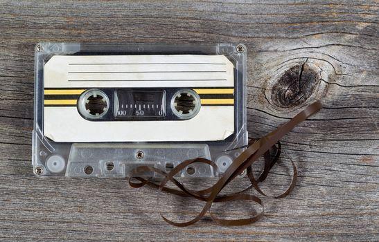 Old Cassette Tape on wood