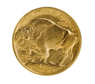 Fine gold Buffalo Gold Coin on white background