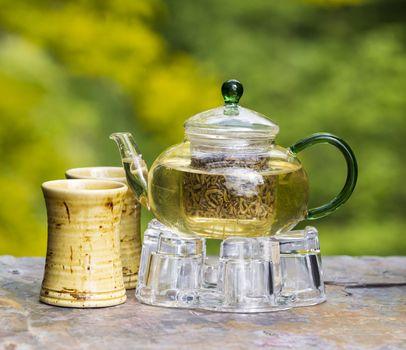 Freshly Brewed Green Tea Outdoors