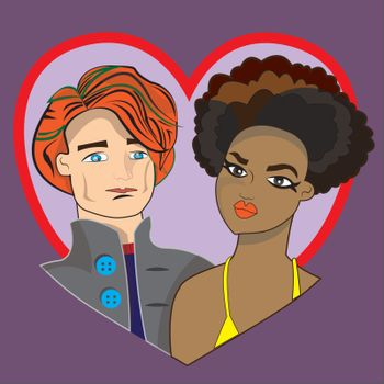 Interracial couple ideal for love or Valentine's day.
