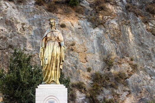 a wide shoot from golden virgin mary statue - detailed and nice looking. photo has taken at izmir/turkey.