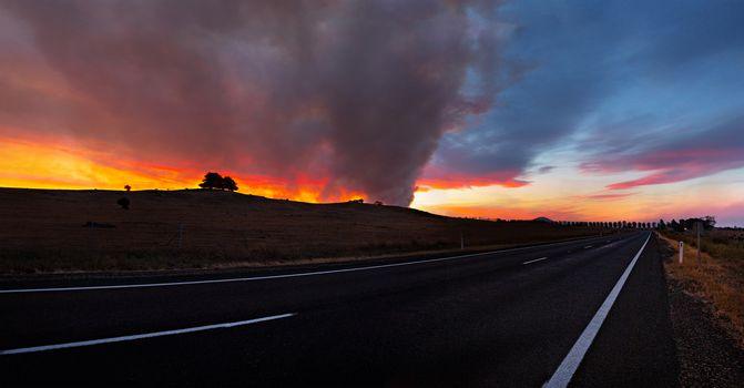 Bush fire burning in rural Australia