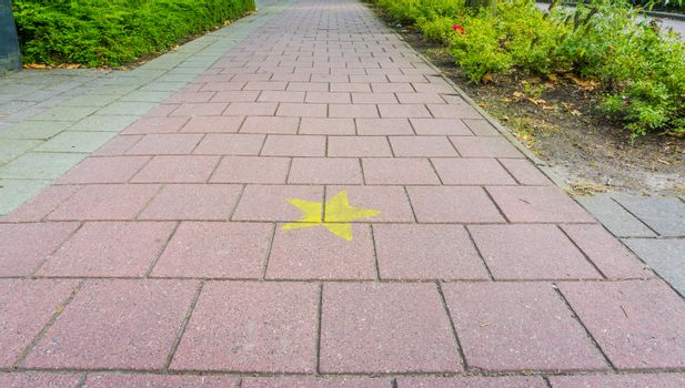 stone cycling road with hollywood star close up