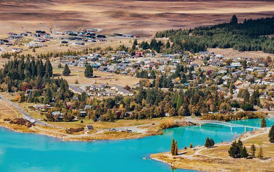 amazing landscapes viewed from Tekapo observatory, New Zealand
