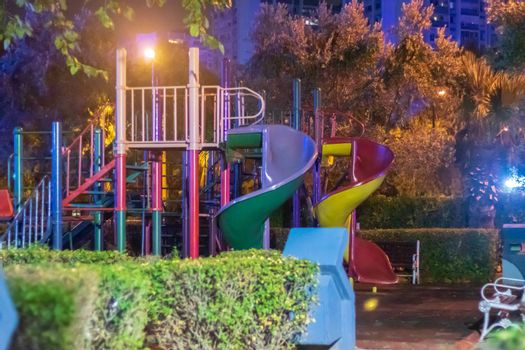 a nice looking night shoot from a playground. photo has taken at izmir/turkey.