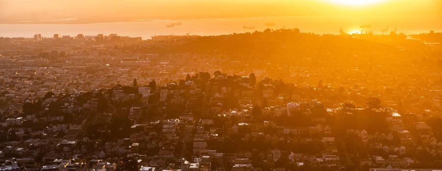 Aerial view over city of San Francisco, California, USA, looking from twin peaks view point in morning.