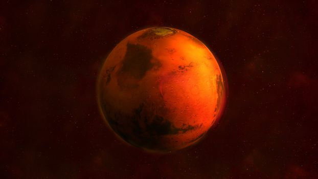 Planet Mars from space showing Arabia Terra