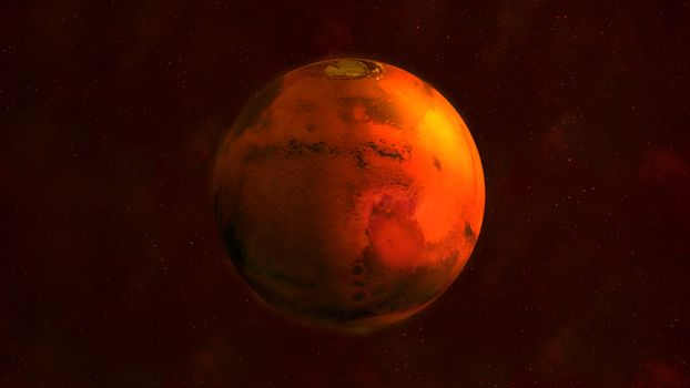 Planet Mars from space showing Syrtis Major