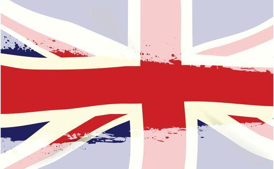 The United Kingdom flag behind a faded white splash