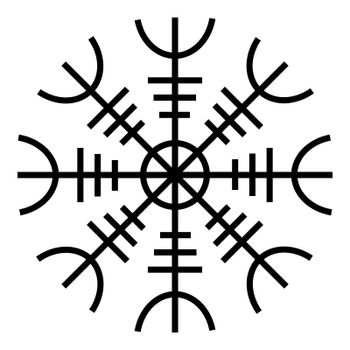 Helm of awe aegishjalmur or egishjalmur icon black color vector illustration flat style image