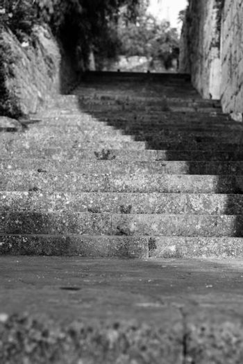 very nice looking black and white very old stone stairs. photo has taken at izmir/turkey.