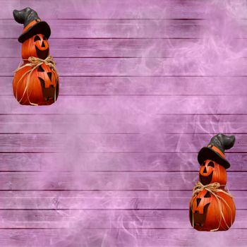 Halloween celebration background with purple wooden planks and carved pumpkins with a witch hat